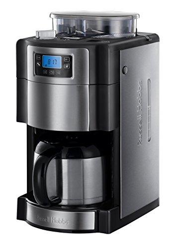 Russell Hobbs Digitale Thermo-Kaffeemaschine Thermo-Kaffeemaschine mit integriertem, konischem Kegelmahlwerk; Hochwertige Thermokanne Digitales Bedienelement mit programmierbarem Timer (24 Stunden), Brühstärkeneinstellung und Uhrzeit; Neun-stufige Mahlgradeinstellung