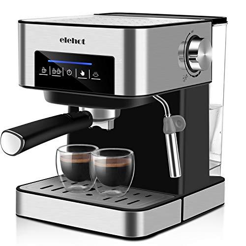 Espressomaschine 15 Bar Kaffeevollautomat Touchscreen mit 1.6L Abnehmbarer Wassertank Milchaufschäumdüse MEHRWEG von ELEHOT